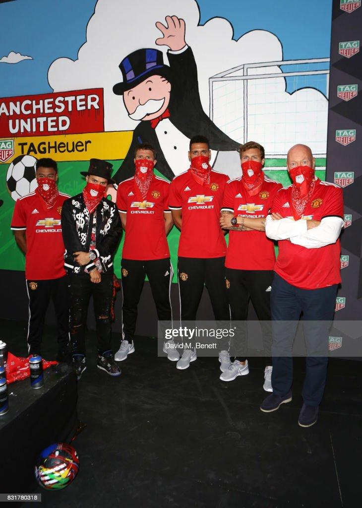 TAG Heuer Art Provocateur, Alec Monopoly & Manchester United Players Unveil New Artwork At Old Trafford : Fotografía de noticias