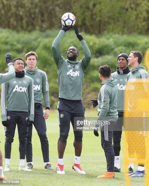 Jesse Lingard Victor Lindelof Romelu Lukaku and Marcus Rashford of Manchester United in action during a first team training session at Aon Training...