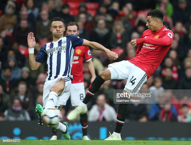 Jesse Lingardj of Manchester United has a shot on goal during the Premier League match between Manchester United and West Bromwich Albion at Old...