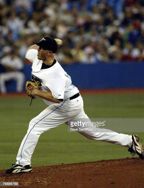Jesse Litsch of the Toronto Blue Jays throws a pitch aginst the Boston Red Sox during their MLB game at the Rogers Centre September 19 2007 in...