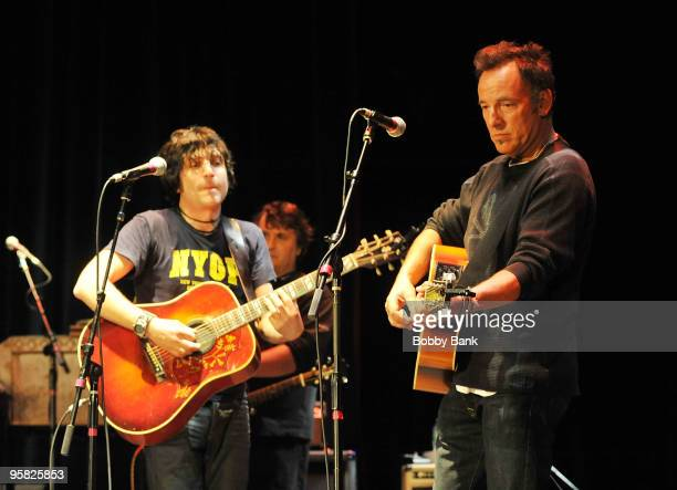 Jesse Malin and Bruce Springsteen perform during the Light of Day Foundation 10th anniversary show at the Paramount Theatre on January 16 2010 in...
