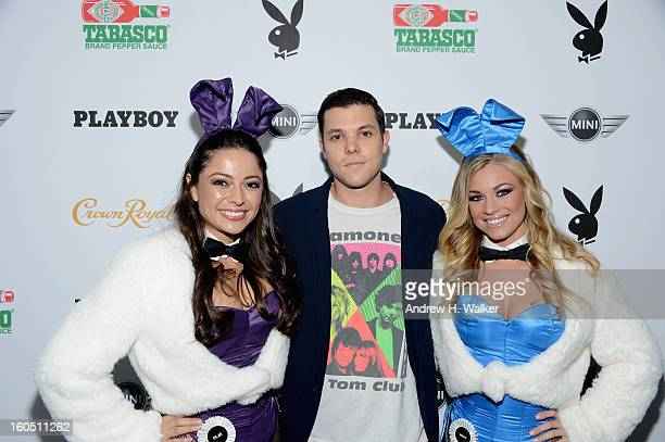 Jesse Marco and Playoy Playmates Pilar Lastra and Nikki Leigh attend The Playboy Party Presented by Crown Royal on February 1 2013 in New Orleans...