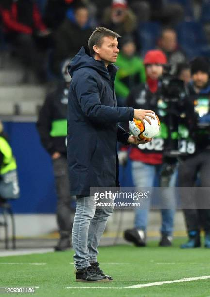 Jesse Marsch Manager of Salzburg during the UEFA Europa League round of 32 second leg match between RB Salzburg and Eintracht Frankfurt at Red Bull...