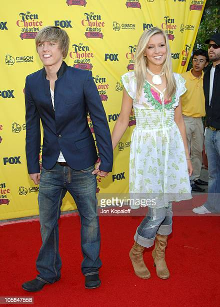 Jesse McCartney and Katie Cassidy during 2005 Teen Choice Awards - Arrivals at Gibson Amphitheater in Universal City, California, United States.