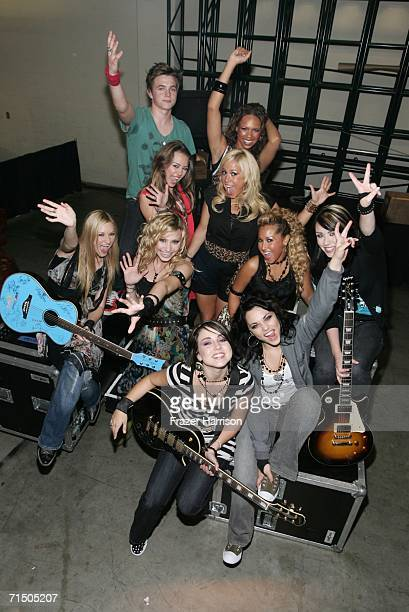 Jesse McCartney, Kiely Williams, Miley Cyrus, Sabrina Bryan, AJ Michalka, Aly Michalka, Adrienne Bailon, Amber, Sarah and Julia pose backstage at the...