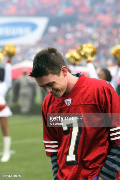 Jesse McCartney performs the National Anthem when he attends the New York Jets vs San Francisco 49ers game on December 7, 2008 at Candlestick Park in...