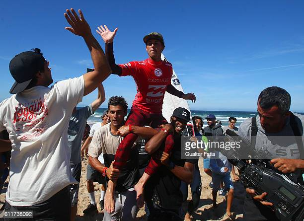 Jesse Mendes from Brazil celebrates after winning the Final of the Billabong Pro Cascais of Surfing at Praia do Guincho on October 1 2016 in Cascais...
