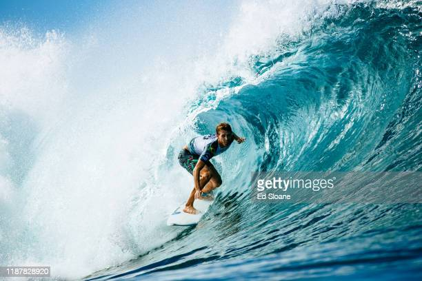 Jesse Mendes of Brazil advances directly to Round 3 of the 2019 Billabong Pipe Masters after placing second in Heat 8 of Round 1 at Pipeline on...