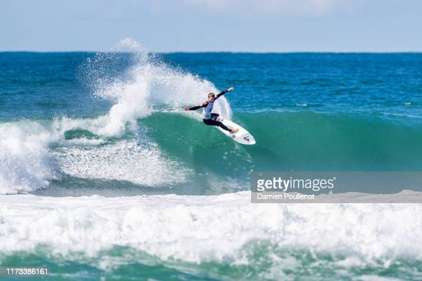 Jesse Mendes of Brazil advances directly to Round 3 of the 2019 Quiksilver Pro France after placing second in Heat 9 of Round 1 at Le Culs Nus on...
