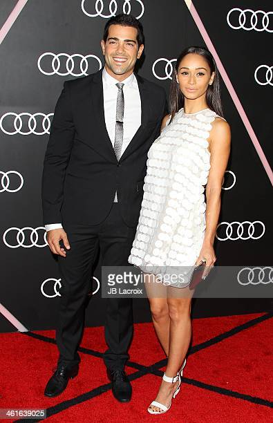 Jesse Metcalfe and Cara Santana attend the Audi Golden Globes Weekend Cocktail Party held at Cecconi's Restaurant on January 9 2014 in Los Angeles...