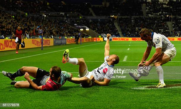 Jesse Mogg of Montpellier celebrates after scoring his team's second try during the European Rugby Challenge Cup Final match between Harlequins and...