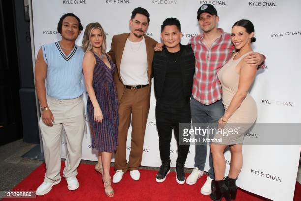 Jesse Montana, Ariana Madix, Tom Sandoval, Kyle Chan, Tom Schwartz and Scheana Marie attend Kyle Chan's retail store opening at Kyle Chan Design on...