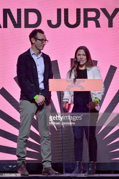 Jesse Moss and Amanda Mcbaine speak onstage during the 2020 Sundance Film Festival Awards Night Ceremony at Basin Recreation Field House on February...