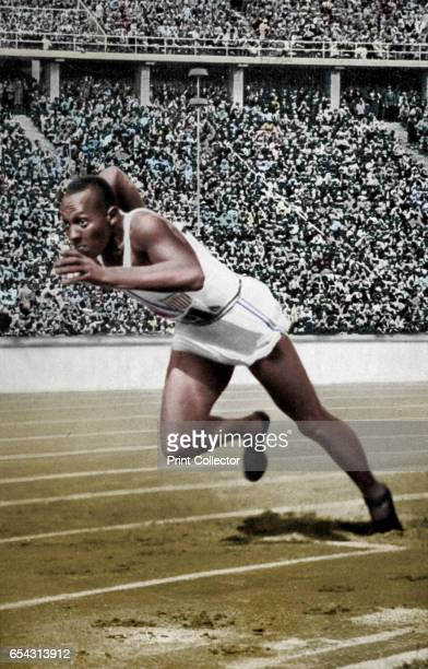 Jesse Owens at the start of the 200 metres at the Berlin Olympic Games 1936 Owens setting off on the way to one of his four gold medals at the 1936...