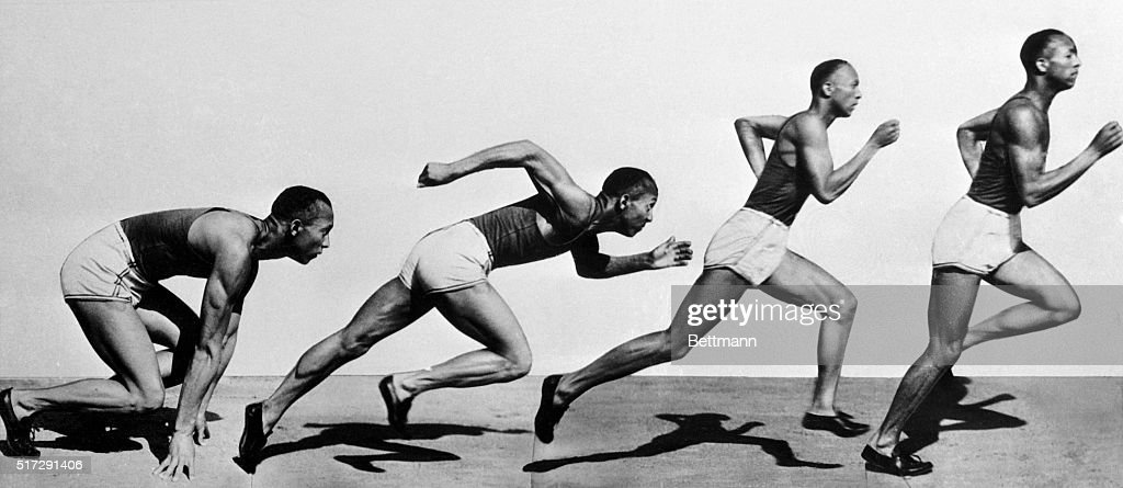 Jesse Owens is shown in a composite shot of the process of starting a dash or sprint. He is shown from the 'Get Set' point (first image) to the almost-full stride running point (last image).