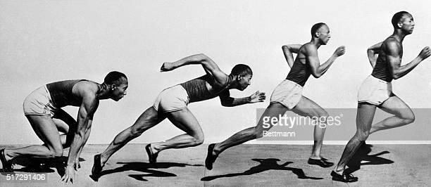 Jesse Owens is shown in a composite shot of the process of starting a dash or sprint He is shown from the 'Get Set' point to the almostfull stride...