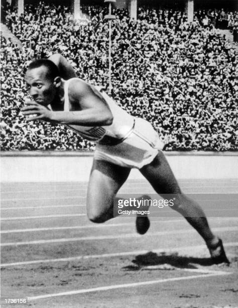 Jesse Owens of the USA in action in the mens 200m at the 1936 Summer Olympic Games held in Berlin Germany Owens won a total of four gold medals in...