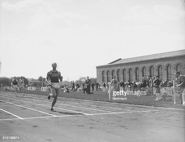 Jesse Owens Ohio State track marvel shown as he won the 220yard dash beating the world's record by 3/10 of a second and his nearest competitor Andy...
