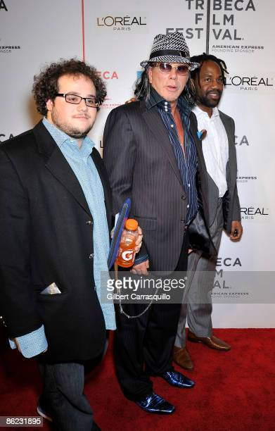 """Jesse Ozeri, actor Mickey Rourke and Unik Ernest attend the premiere of """"City Island"""" during the 8th Annual Tribeca Film Festival at the BMCC Tribeca..."""