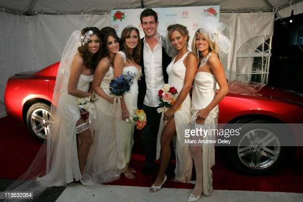 Jesse Palmer and Maximony Bridesmaides during Super Bowl XXXIX The Maximony Super Ball Party Arrivals February 5 2005 at The Garden Club in...