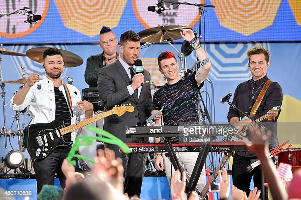 Jesse Palmer interviews Eli Maiman Sean Waugaman Nicholas Petricca and Kevin Ray of Walk The Moon on ABC's Good Morning America at Rumsey Playfield...