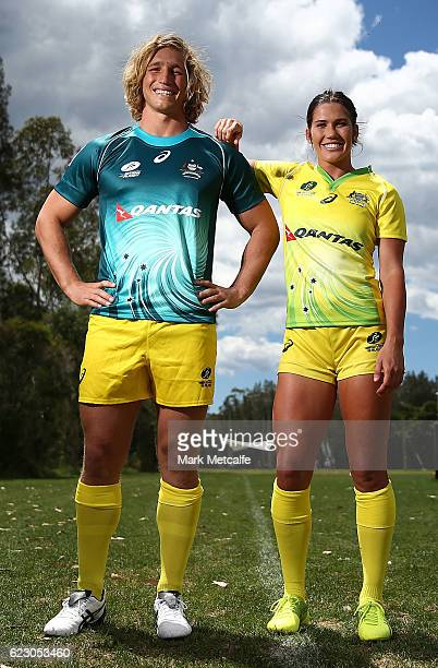 Jesse Parahi and Charlotte Caslick pose during the Australian Sevens Rugby Jersey launch at the Sydney Academy of Sport on November 14 2016 in Sydney...