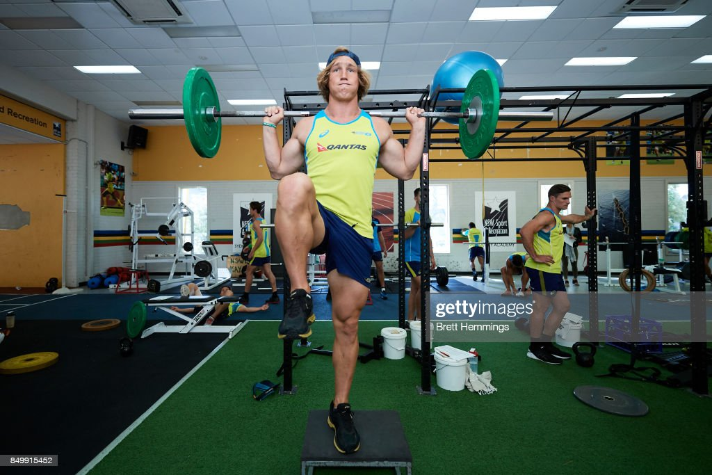 Jesse Parahi of the Australian Rugby Sevens team works out
