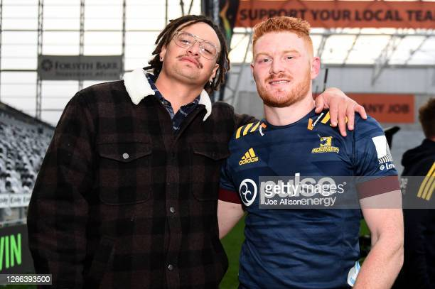 Jesse Parete and Tom Florence of the Highlanders pose for a photo following the round 10 Super Rugby Aotearoa match between the Highlanders and the...