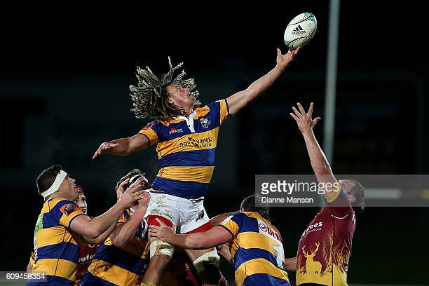 Jesse Parete of Bay of Plenty reaches for lineout ball during the Mitre 10 Cup round 6 match between Southland and Bay of Plenty at Rugby Park...