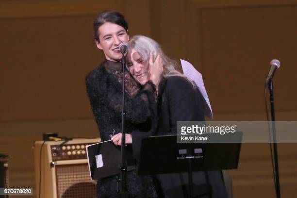 Jesse Paris Smith and Patti Smith speak on stage during Pathway To Paris Concert For Climate Action at Carnegie Hall on November 5 2017 in New York...