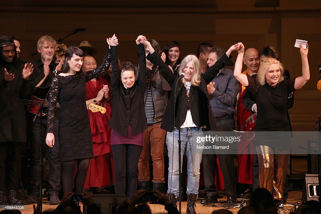 Jesse Paris Smith, Laurie Anderson, Patti Smith and Debbie Harry perform on stage at the Tibet House Benefit Concert 2015 at Carnegie Hall on March 5, 2015 in New York City.
