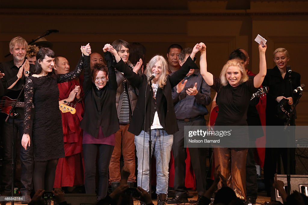 Jesse Paris Smith, Laurie Anderson, Patti Smith, Debbie Harry and Miley Cyrus perform on stage at the Tibet House Benefit Concert 2015 at Carnegie Hall on March 5, 2015 in New York City.