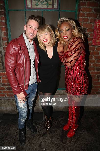 Jesse Pattison Taylor Swift and Todrick Hall as Lola pose backstage at the hit musical Kinky Boots on Broadway at The Al Hirschfeld Theater on...