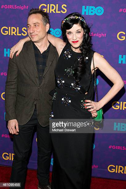 Jesse Peretz and Sarah Sophie Flicker attend the Girls season three premiere at Jazz at Lincoln Center on January 6 2014 in New York City