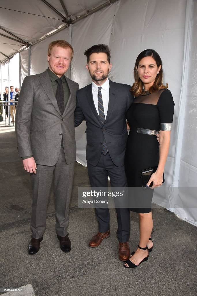 Jesse Plemons, Adam Scott and Naomi Scott during the 2017 Film Independent Spirit Awards at the Santa Monica Pier on February 25, 2017 in Santa Monica, California.