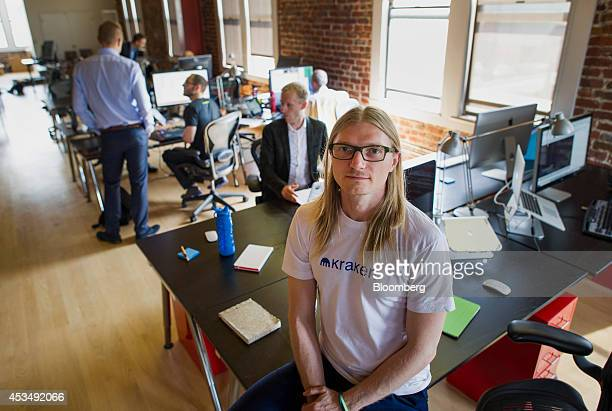 Jesse Powell chief executive officer of Kraken Bitcoin Exchange sits for a photograph at the company's office in San Francisco California US on...