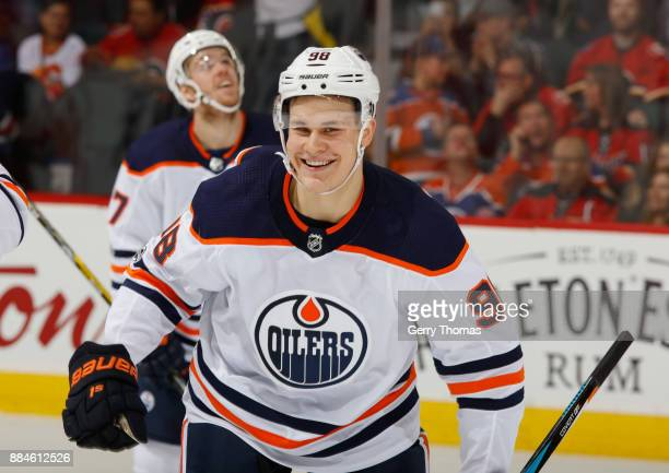 Jesse Puljujarvi of the Edmonton Oilers is all smiles after a goal against the Calgary Flames at Scotiabank Saddledome on December 2 2017 in Calgary...
