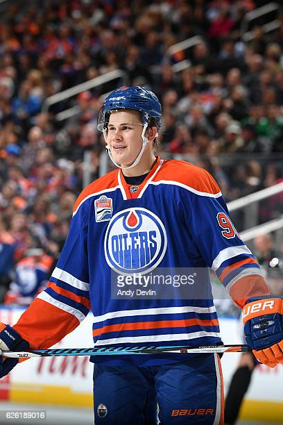 Jesse Puljujarvi of the Edmonton Oilers lines up for a face off during the game against the Dallas Stars on November 11 2016 at Rogers Place in...