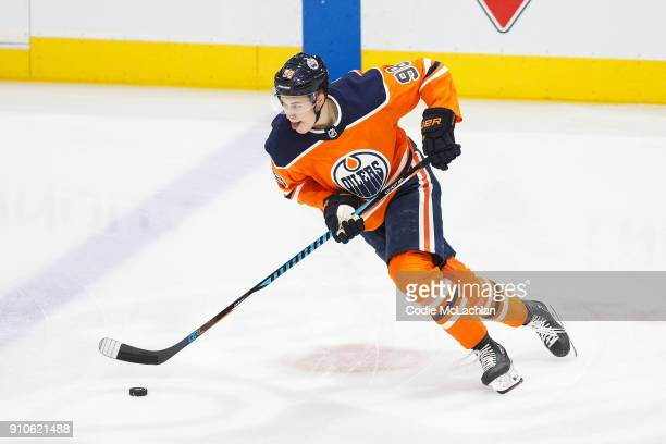 Jesse Puljujarvi of the Edmonton Oilers skates against the Vancouver Canucks at Rogers Place on January 20 2018 in Edmonton Canada