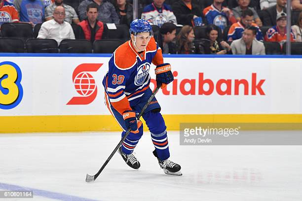 Jesse Puljujarvi of the Edmonton Oilers skates during a preseason game against the Calgary Flames on September 26 2016 at Rogers Place in Edmonton...