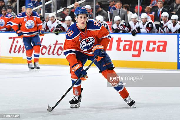 Jesse Puljujarvi of the Edmonton Oilers skates during the game against the Arizona Coyotes on November 27 2016 at Rogers Place in Edmonton Alberta...