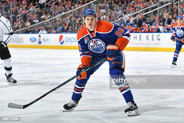 Jesse Puljujarvi of the Edmonton Oilers skates during the game against the Los Angeles Kings on December 29 2016 at Rogers Place in Edmonton Alberta...