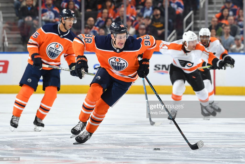 Jesse Puljujarvi #98 of the Edmonton Oilers skates during the game against the Philadelphia Flyers on December 6, 2017 at Rogers Place in Edmonton, Alberta, Canada.