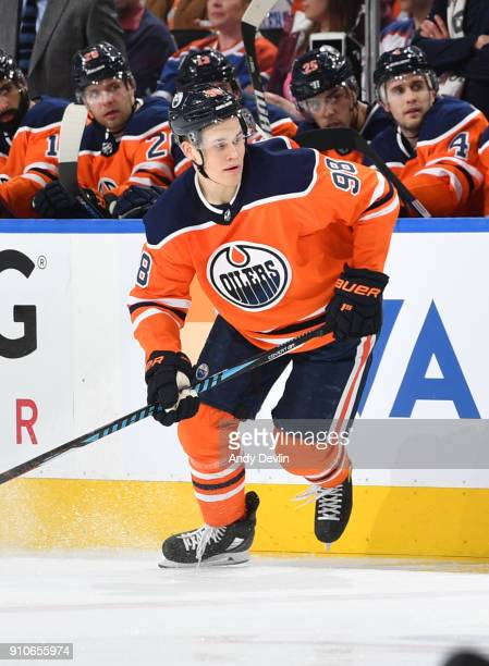 Jesse Puljujarvi of the Edmonton Oilers skates during the game against the Vancouver Canucks on January 20 2017 at Rogers Place in Edmonton Alberta...