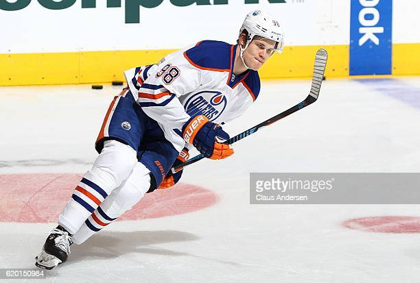 Jesse Puljujarvi of the Edmonton Oilers skates during the warmup prior to playing against the Toronto Maple Leafs an NHL game at the Air Canada...
