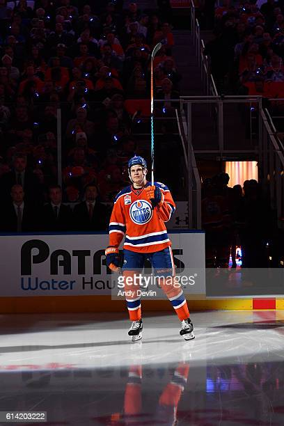 Jesse Puljujarvi of the Edmonton Oilers steps onto the ice prior to the season opener against the Calgary Flames on October 12 2016 at Rogers Place...