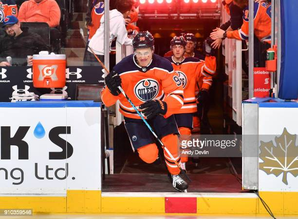 Jesse Puljujarvi of the Edmonton Oilers steps onto the ice prior to the game against the Calgary Flames on January 25 2017 at Rogers Place in...