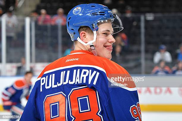 Jesse Puljujarvi of the Edmonton Oilers warms up prior to the game against the Columbus Blue Jackets on December 13 2016 at Rogers Place in Edmonton...