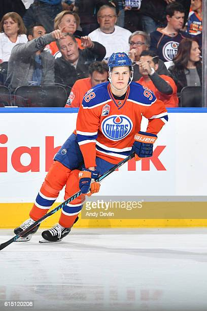 Jesse Puljujarvi of the Edmonton Oilers warms up prior to the season opener against the Calgary Flames on October 12 2016 at Rogers Place in Edmonton...