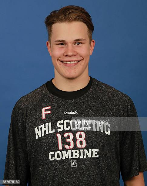 Jesse Puljujarvi poses for a headshot at the 2016 NHL Combine on June 2 2016 at Harborcenter in Buffalo New York